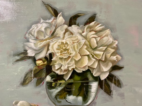 (CreativeWork) Still Life with Peonies by Suzanne Lawson. Oil Paint. Shop online at Bluethumb.