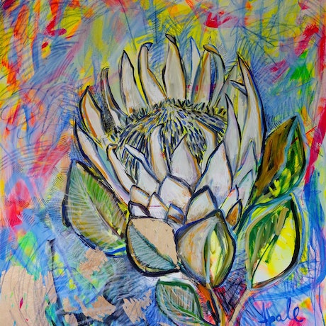 (CreativeWork) King Protea and Golden Leaves by Katerina Apale. Mixed Media. Shop online at Bluethumb.