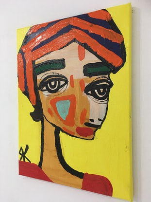 (CreativeWork) Mishka  by Kate Rogers. Acrylic Paint. Shop online at Bluethumb.