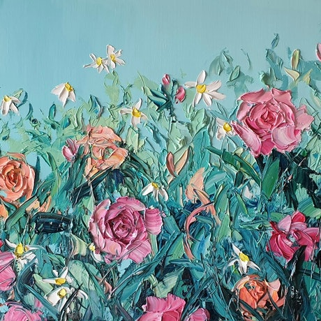 (CreativeWork) Time For Happiness  by Angela Hawkey. Oil Paint. Shop online at Bluethumb.