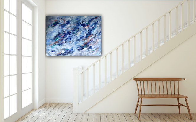 (CreativeWork) THROUGH THE CLOUDS  by lyn price. Acrylic Paint. Shop online at Bluethumb.