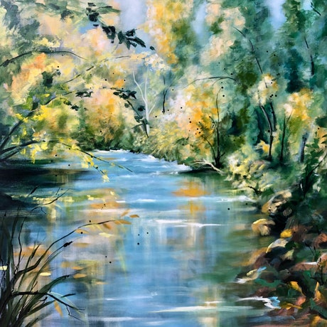 (CreativeWork) Another Bend in the River. ( Autumn on the Ovens) by Marion Rispin. Acrylic Paint. Shop online at Bluethumb.