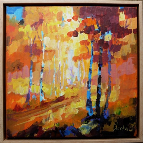 (CreativeWork) Autumn Track by Leeka Gruzdeff. Acrylic Paint. Shop online at Bluethumb.