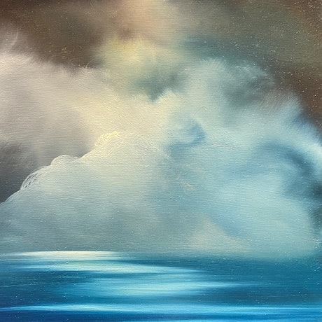 (CreativeWork) Blue Morning 1 by Elaine Green. Oil Paint. Shop online at Bluethumb.