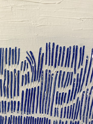 (CreativeWork) Blue Terraces in the Midday Sun by Georgina Fraser. Acrylic Paint. Shop online at Bluethumb.