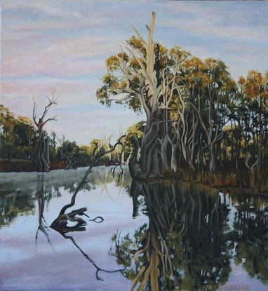 (CreativeWork) Koondrook First Light by Gaye Sutherland. Oil. Shop online at Bluethumb.