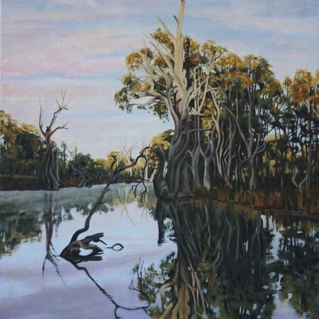 (CreativeWork) Koondrook First Light by Gaye Sutherland. Oil Paint. Shop online at Bluethumb.