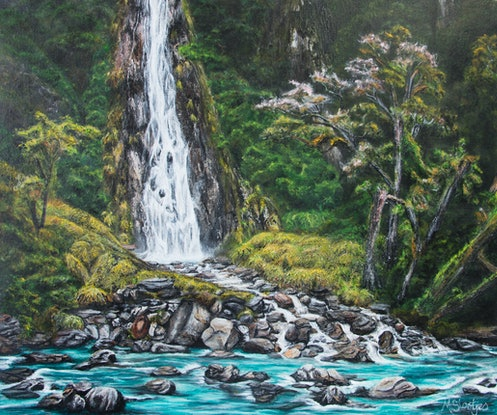(CreativeWork) An Aspiring Tributary by Melanie-Anne Slootjes. Acrylic Paint. Shop online at Bluethumb.