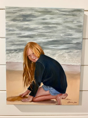 (CreativeWork) Girl on Beach by Suzanne Lawson. Oil Paint. Shop online at Bluethumb.