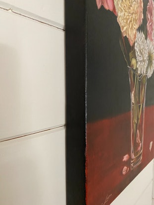 (CreativeWork) Floral Still Life on Black by Suzanne Lawson. Oil Paint. Shop online at Bluethumb.