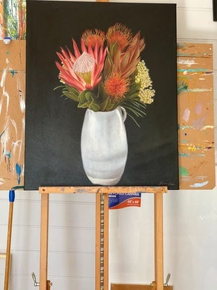 (CreativeWork) Large Floral Still Life - Natives Ed. 1 of 5 by Suzanne Lawson. Print. Shop online at Bluethumb.