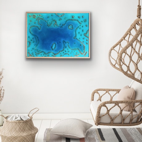 (CreativeWork) Aerial Coral Reef by Michael Kent. Resin. Shop online at Bluethumb.