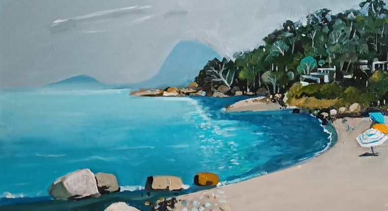 (CreativeWork) Australian Landscape  - Sea Mist by Susan Trudinger. Acrylic Paint. Shop online at Bluethumb.