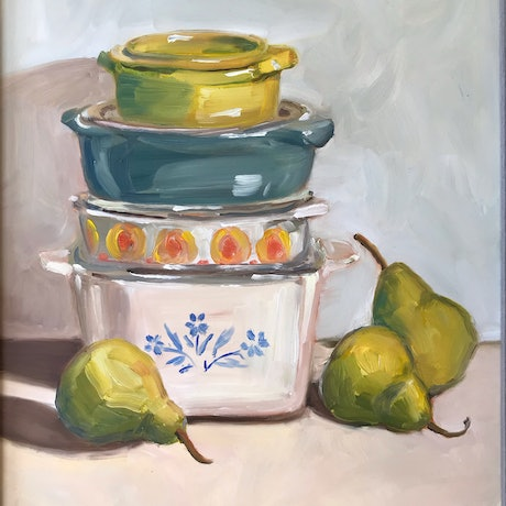 (CreativeWork) Casserole Stack by Catherine Stait-Gardner. Oil Paint. Shop online at Bluethumb.