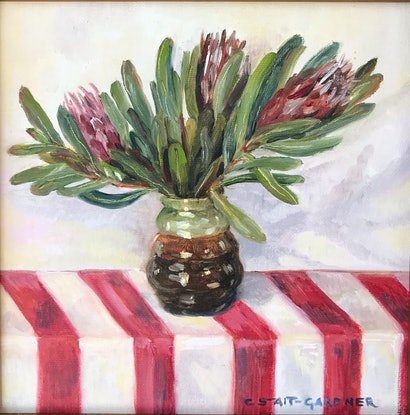 (CreativeWork) Protea Still Life by Catherine Stait-Gardner. Oil Paint. Shop online at Bluethumb.