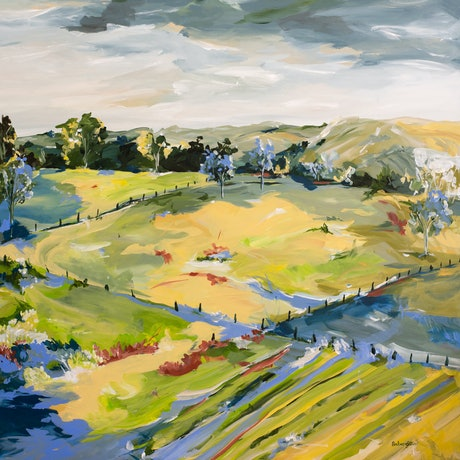 (CreativeWork) Country Living by Amber Gittins. Acrylic Paint. Shop online at Bluethumb.