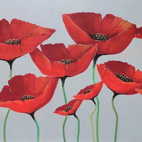 (CreativeWork) Red Poppies  by Ron Brown. Acrylic Paint. Shop online at Bluethumb.