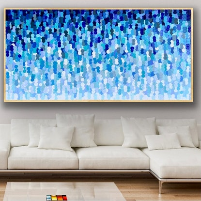 (CreativeWork) Beyond blue 187x96 framed . Large textured abstract  by Sophie Lawrence. Acrylic Paint. Shop online at Bluethumb.