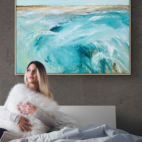 (CreativeWork) Back To The Cape 122X92CM Extra Large Textured Coastal  by Tania Chanter. Acrylic Paint. Shop online at Bluethumb.