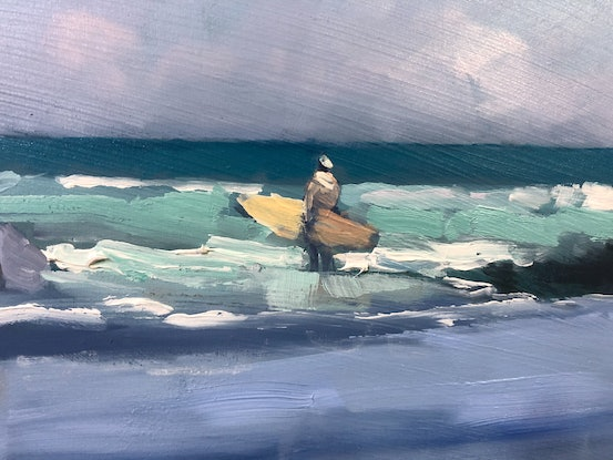 (CreativeWork) Shadows on the beach Noosa by Mike Barr. Oil Paint. Shop online at Bluethumb.