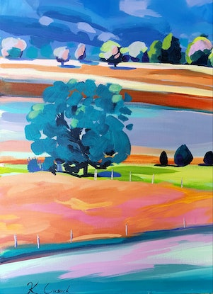 (CreativeWork) Summer Country Escape by Katherine Cusack. Acrylic Paint. Shop online at Bluethumb.