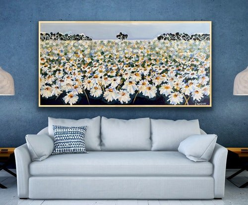 (CreativeWork) Blue daisy 187x96 framed .large textured abstract landscape by Sophie Lawrence. Acrylic Paint. Shop online at Bluethumb.