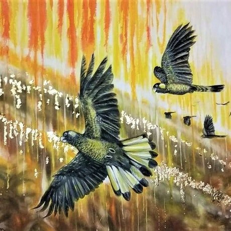 (CreativeWork) 'Yellow Tail Black Cockatoos' - special COMMISSION FOR DARREN by Susan Capan. Oil Paint. Shop online at Bluethumb.