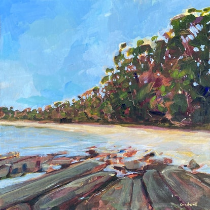 (CreativeWork) Jervis Bay Dreaming (available framed) by Kate Gradwell. Acrylic Paint. Shop online at Bluethumb.