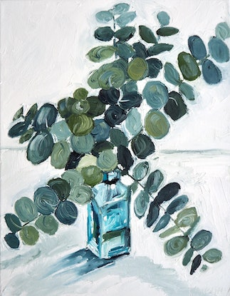 (CreativeWork) Blue Bottle  by Michelle Keighley. Oil Paint. Shop online at Bluethumb.