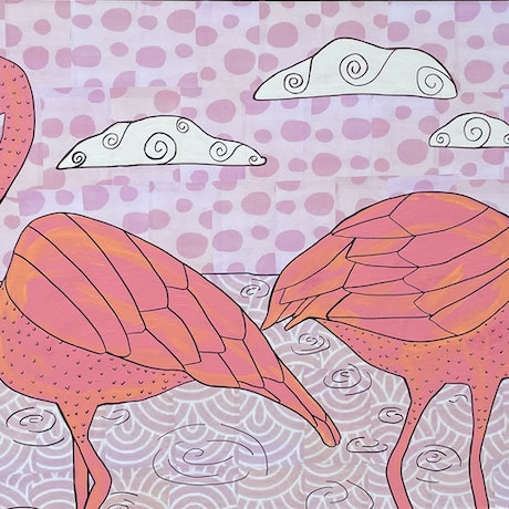 (CreativeWork) Flamingos in the clouds by Sally Dunbar. Mixed Media. Shop online at Bluethumb.