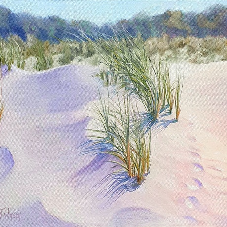 (CreativeWork) Foot Prints in the Sand by Pauline Johnson. Oil Paint. Shop online at Bluethumb.