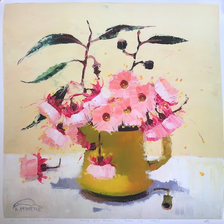 "(CreativeWork) ""Fairy gum blossom in yellow jug (study)"" Ed. 1 of 20 by kirsty mcintyre. Print. Shop online at Bluethumb."