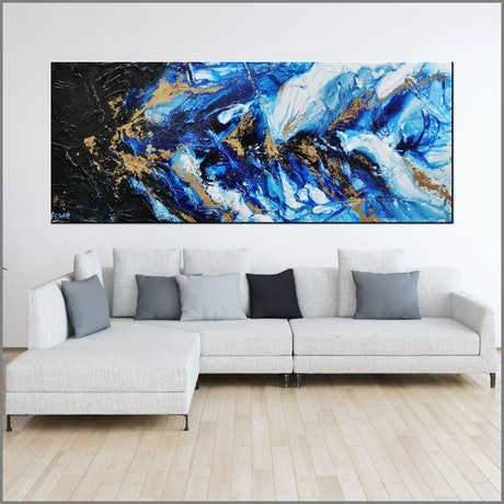 (CreativeWork) Admiral 200cm x 80cm Blue Black Gold Abstract Textured Ink Gloss Finish FRANKO by _Franko _. Acrylic Paint. Shop online at Bluethumb.