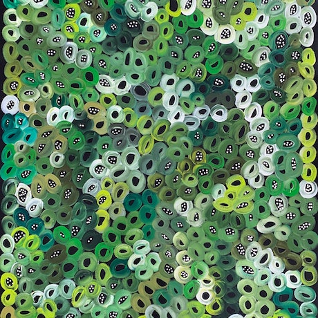 (CreativeWork) Bush Melons & Seeds, Bush Tucker - Greens (A)  by Louise Numina. Acrylic Paint. Shop online at Bluethumb.