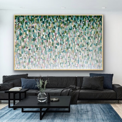 (CreativeWork) The honeyeater 200x126 framed . Large abstract by Sophie Lawrence. Acrylic Paint. Shop online at Bluethumb.
