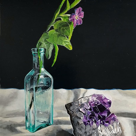 (CreativeWork) Amethyst and flower by Melissa Hartley. Acrylic. Shop online at Bluethumb.