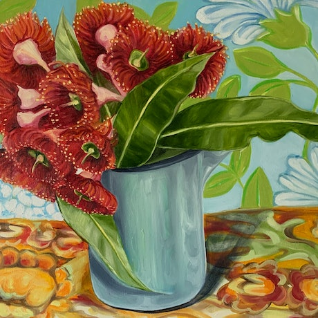 (CreativeWork) Vintage Enamel and the Gum Blossom by Alicia Cornwell. Oil Paint. Shop online at Bluethumb.