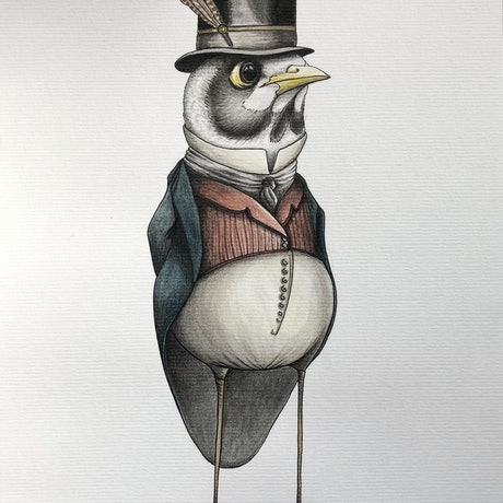 (CreativeWork) The Gentleman Miner by J. L. Watercolour Paint. Shop online at Bluethumb.