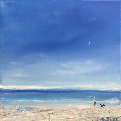 (CreativeWork) Beach dog walk by Tina Barr. Acrylic Paint. Shop online at Bluethumb.