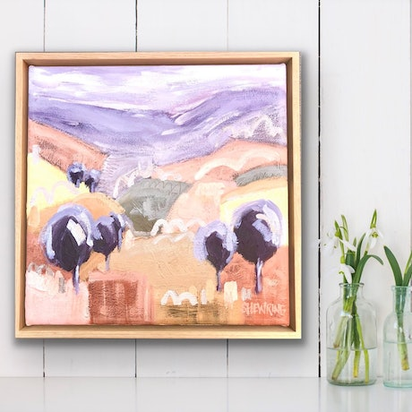 (CreativeWork) Sunset Fields - Framed 33x33cm  by Jen Shewring. Acrylic Paint. Shop online at Bluethumb.