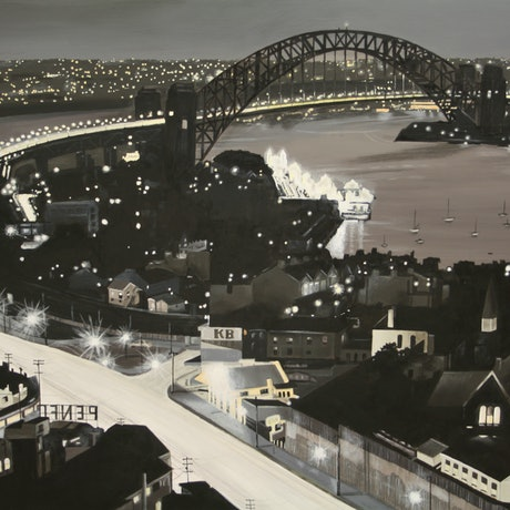 (CreativeWork) Impression of Sydney 1948 by Howard Moffatt. Mixed Media. Shop online at Bluethumb.