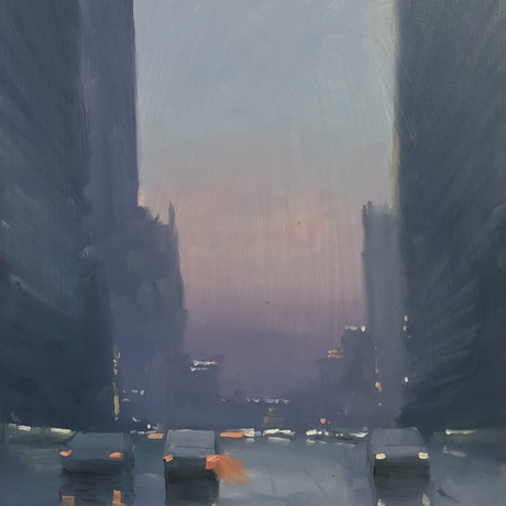 (CreativeWork) After the rain - cityscape rain by Mike Barr. Oil Paint. Shop online at Bluethumb.