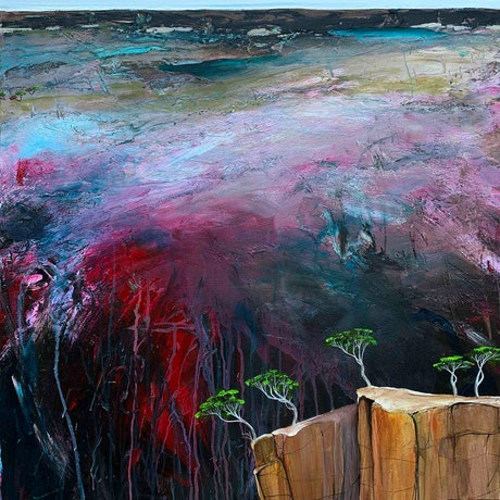(CreativeWork) Hidden Gully FRAMED 110X76CM Textured Abstract Landscape by Tania Chanter. Acrylic Paint. Shop online at Bluethumb.