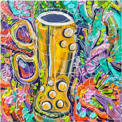 (CreativeWork) Now that's a beer mug! by Tina Dinte. Acrylic Paint. Shop online at Bluethumb.