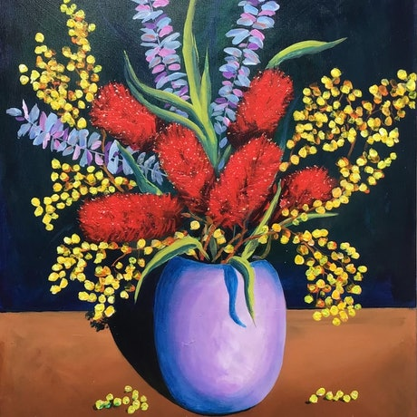 (CreativeWork) Bottle Brush and Wattle by Ron Brown. Acrylic Paint. Shop online at Bluethumb.