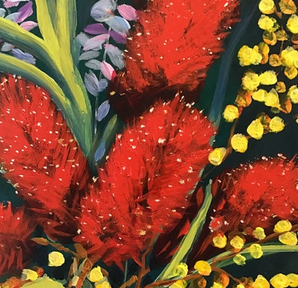 (CreativeWork) Bottle Brush and Wattle by Ron Brown. Acrylic. Shop online at Bluethumb.
