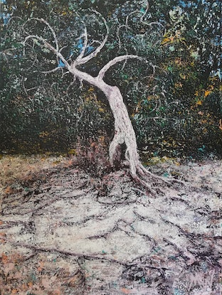 (CreativeWork) Loneliness is Heavy  by Mel Wren. Acrylic Paint. Shop online at Bluethumb.