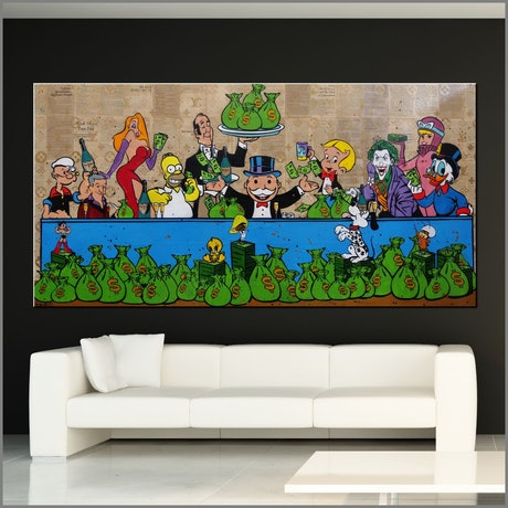 (CreativeWork) Last Supper Rewards 240cm x 120cm Monopoly Man Last Supper Urban Pop Art Book Page Gloss Finish FRANKO by _Franko _. Mixed Media. Shop online at Bluethumb.