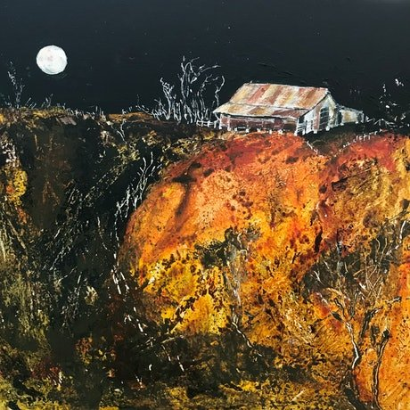 (CreativeWork) The Moon is Lonely in the Sky by Meg Lewer. Mixed Media. Shop online at Bluethumb.