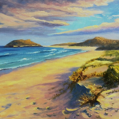 (CreativeWork) Sunset light on beach near Ulladulla, NSW - Oil on canvas board  by Christopher Vidal. Oil Paint. Shop online at Bluethumb.